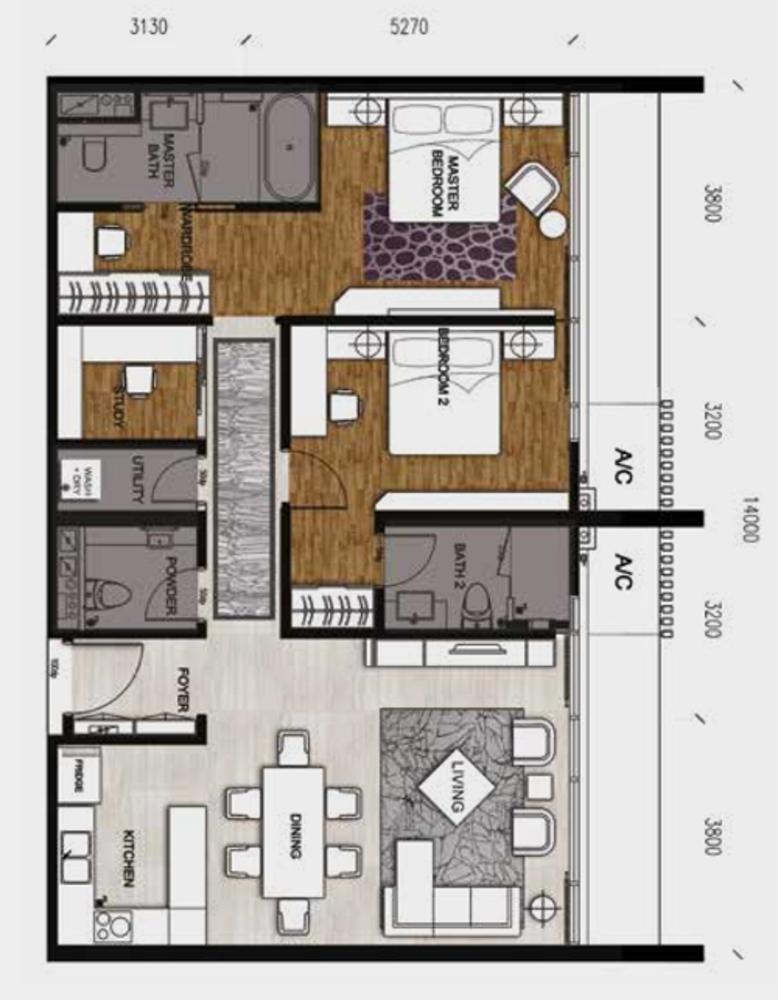 Anggun Residences Type D / D1 Floor Plan