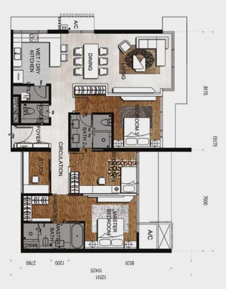 Anggun Residences Type E / E1 Floor Plan