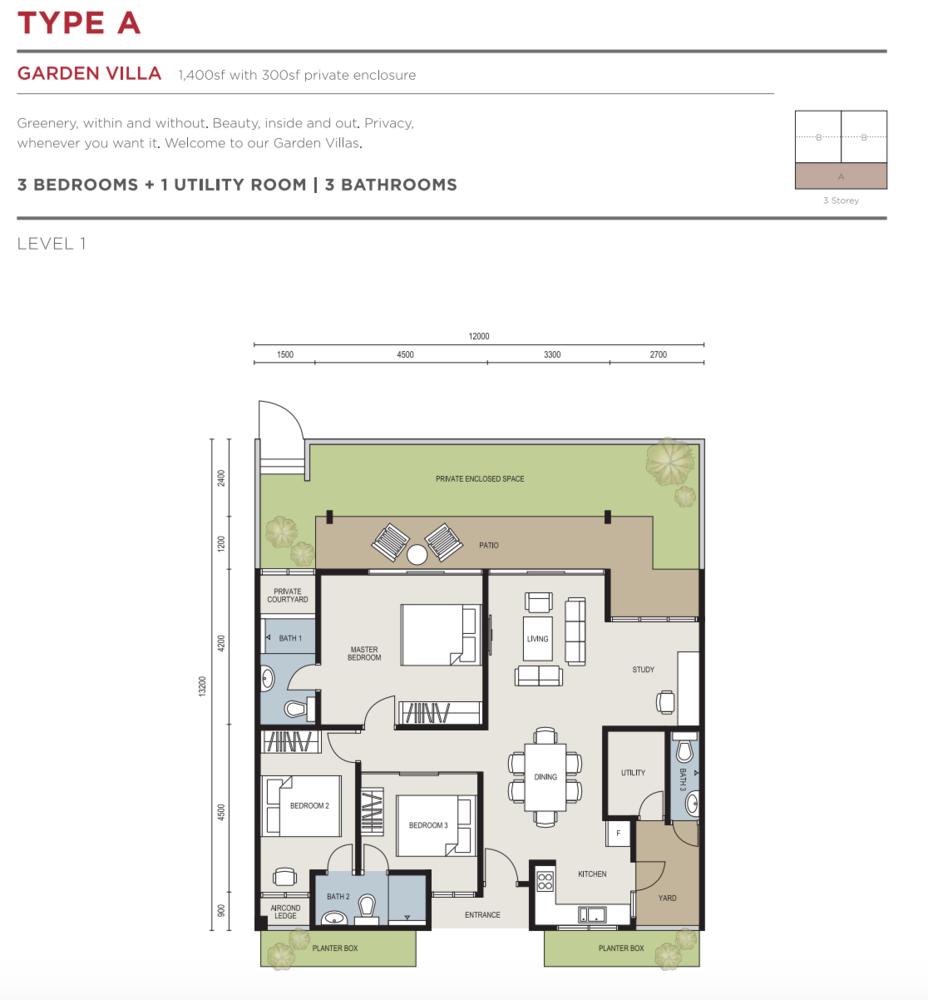 The Seed @ Sutera Utama Type A Floor Plan