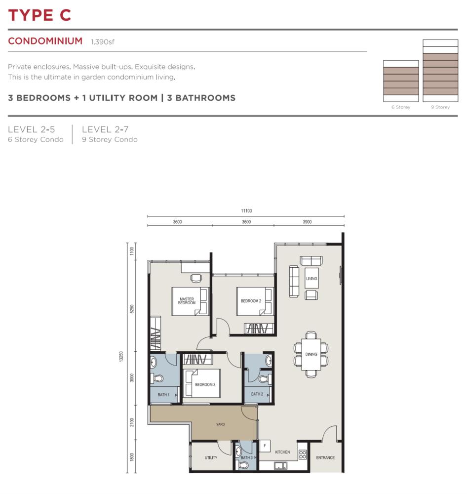 The Seed @ Sutera Utama Type C Floor Plan