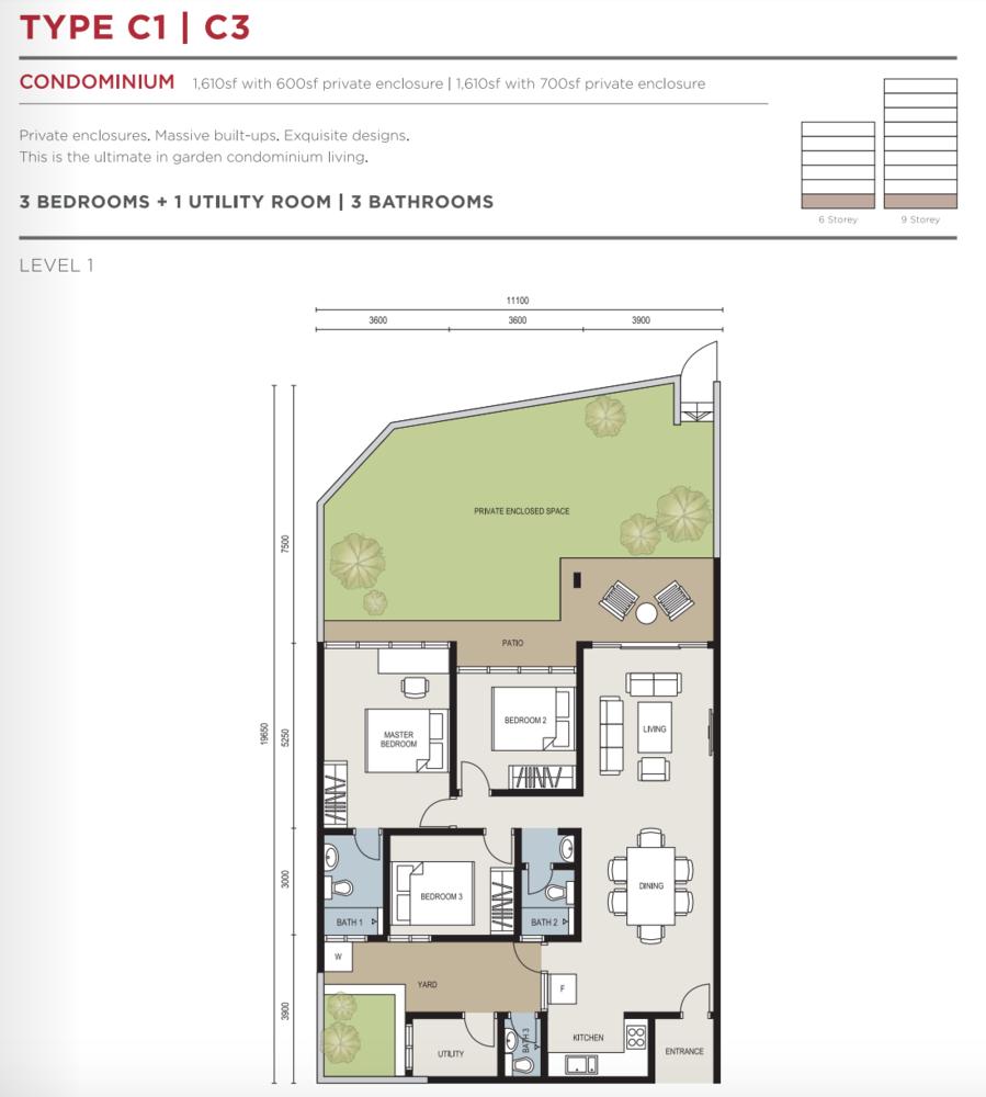 The Seed @ Sutera Utama Type C1 / C3 Floor Plan