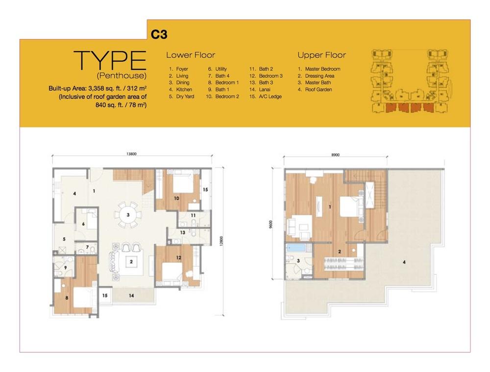 8 Petaling Type C3 Floor Plan