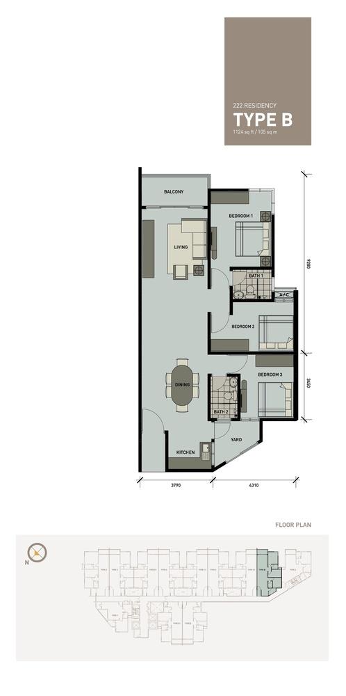 222 Residency Type B Floor Plan