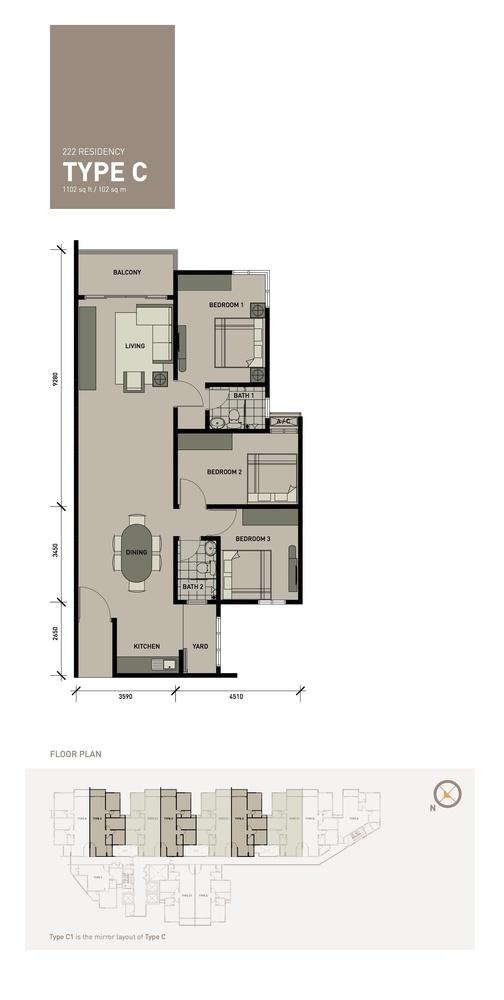 222 Residency Type C Floor Plan