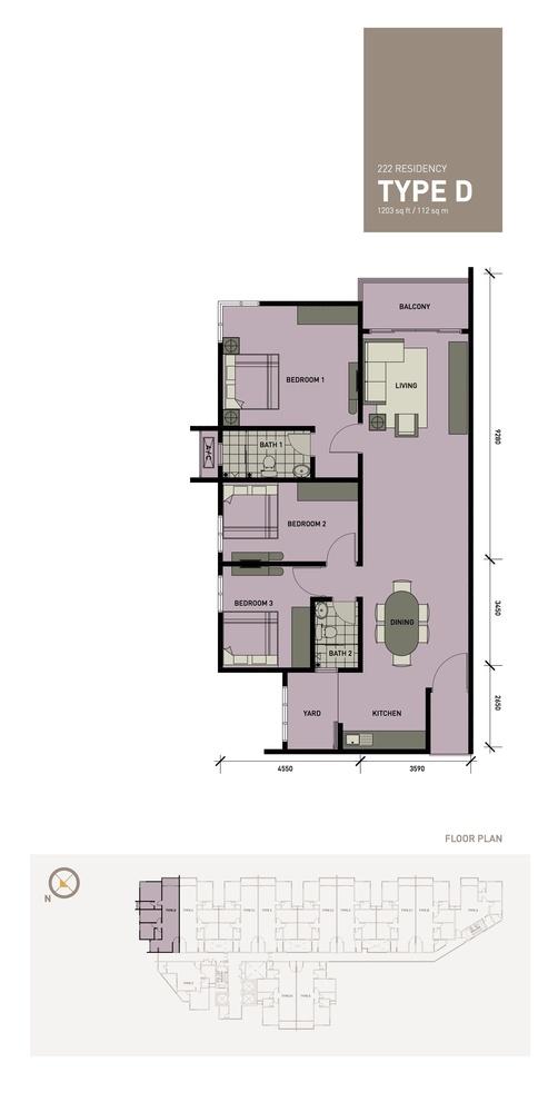 222 Residency Type D Floor Plan