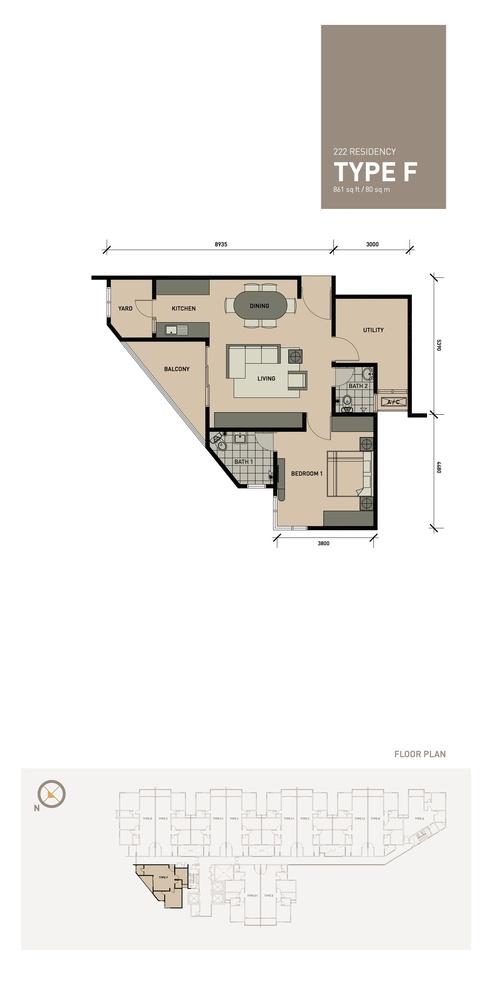 222 Residency Type F Floor Plan