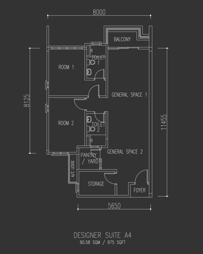 Univ 360 Place Designer Suite A4 Floor Plan