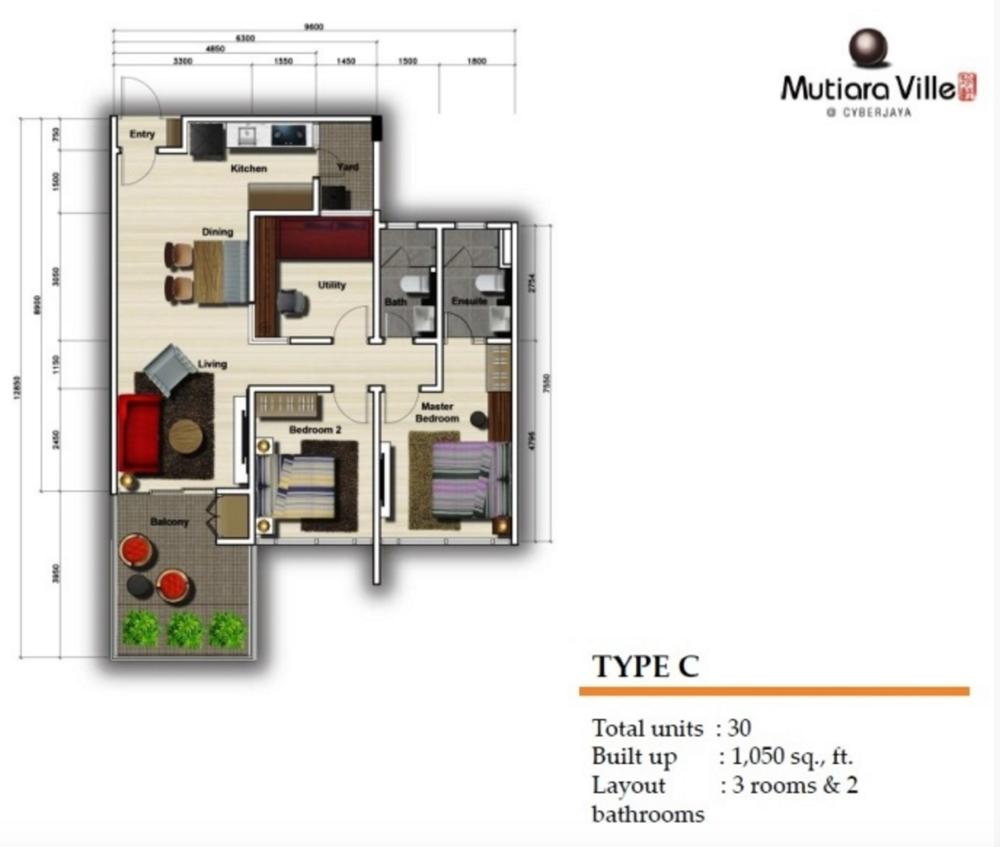 Mutiara Ville Tower F - Type C Floor Plan