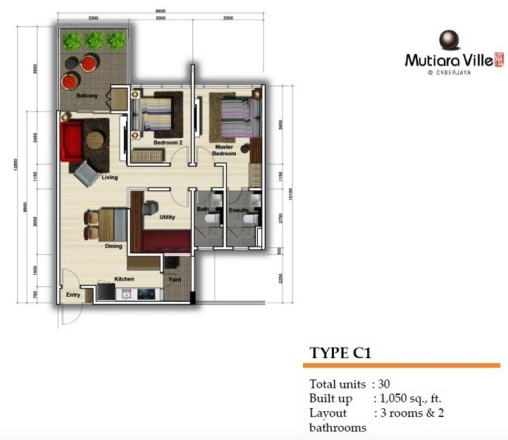 Mutiara Ville Tower F - Type C1 Floor Plan