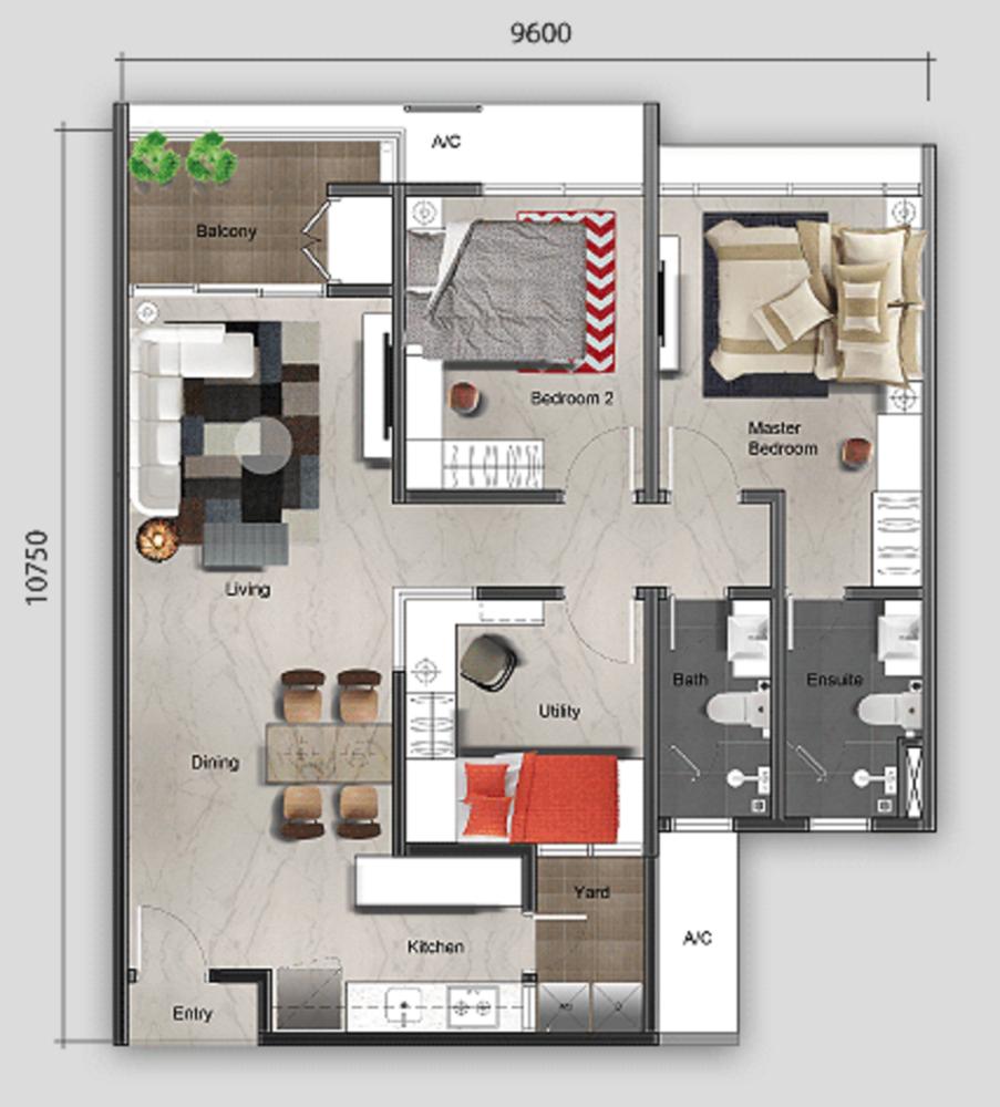 Mutiara Ville Tower G - Type A Floor Plan