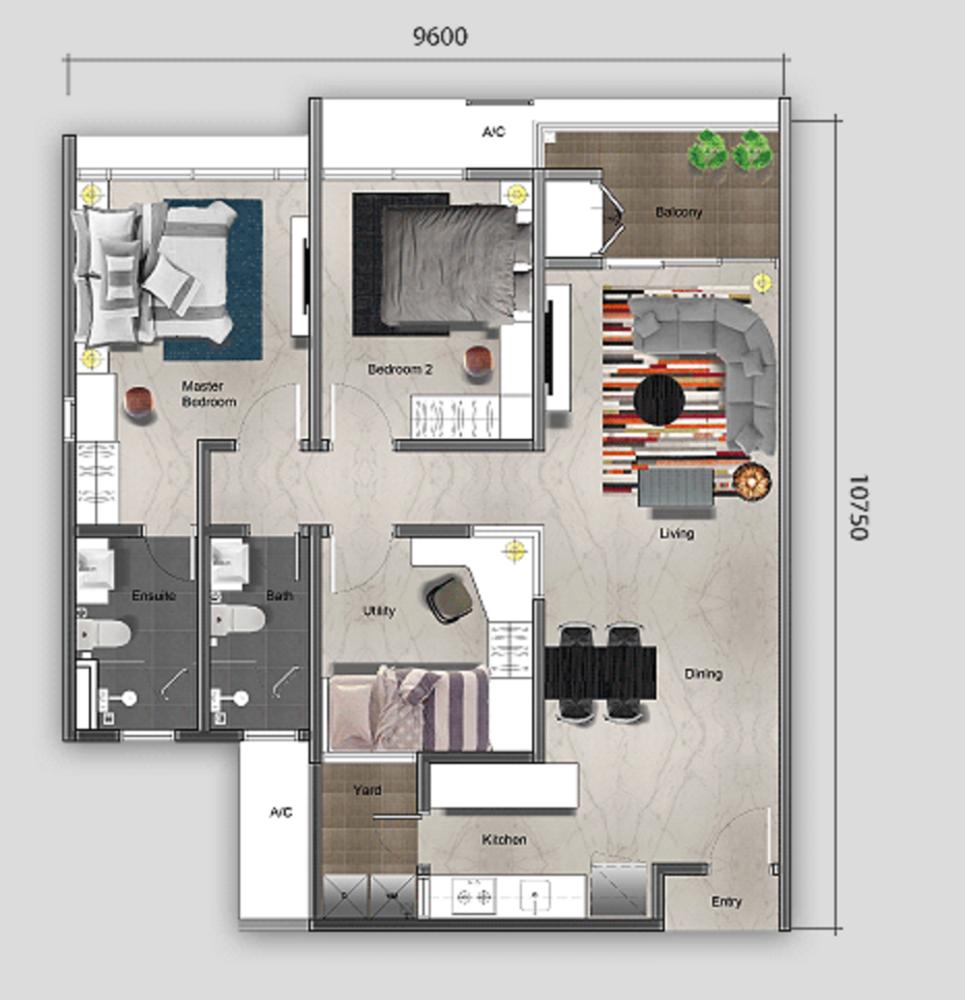 Mutiara Ville Tower G - Type B Floor Plan