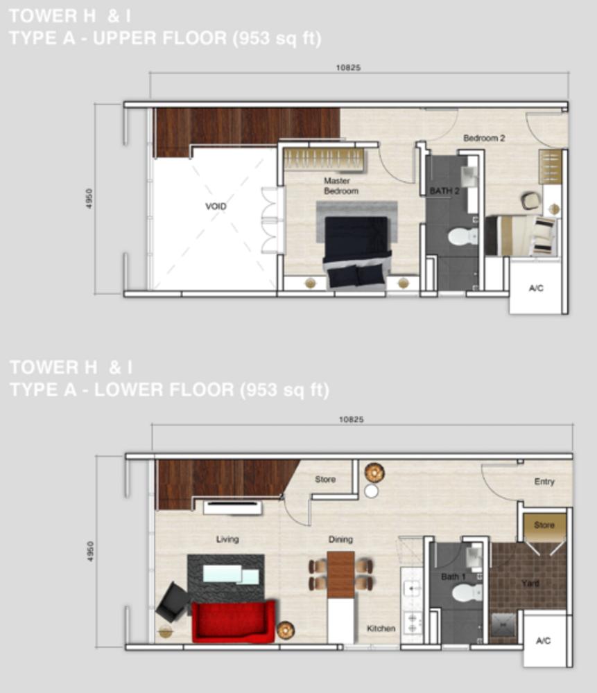 Mutiara Ville Tower H & I - Type A Floor Plan