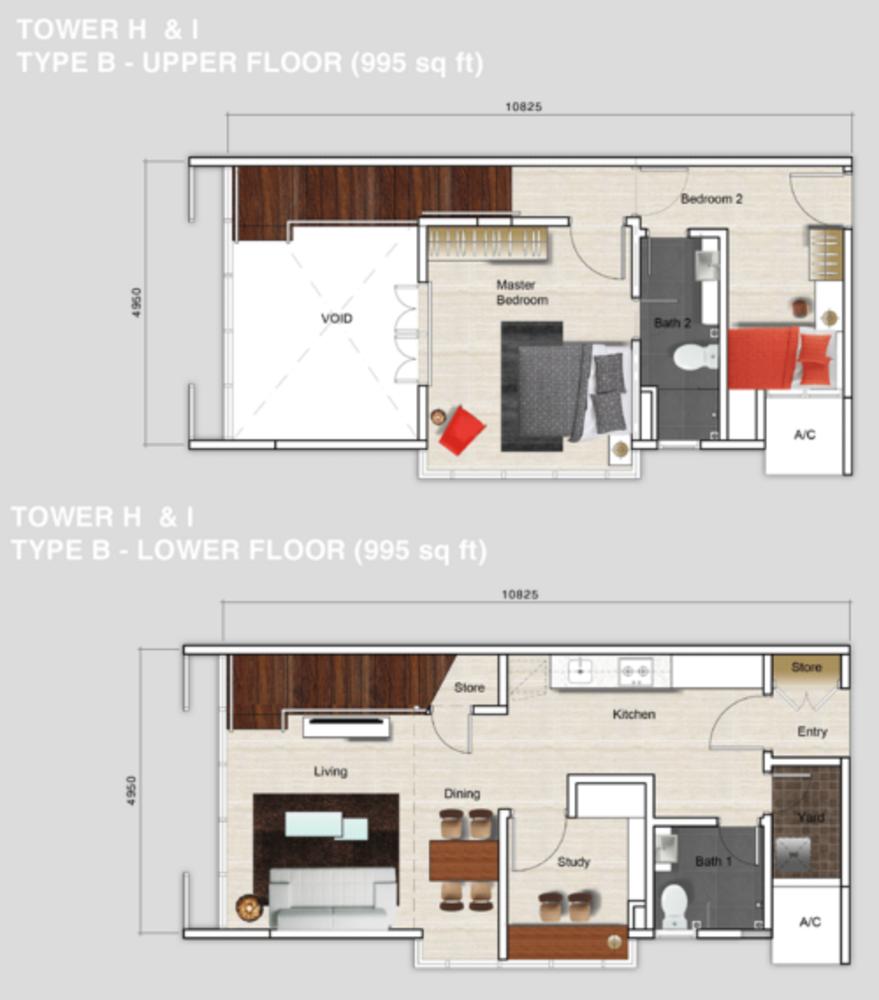 Mutiara Ville Tower H & I - Type B Floor Plan