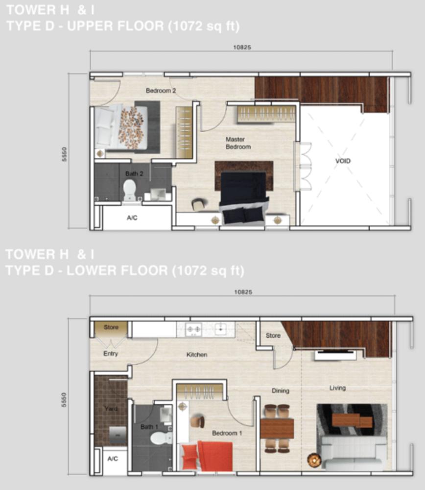Mutiara Ville Tower H & I - Type D Floor Plan