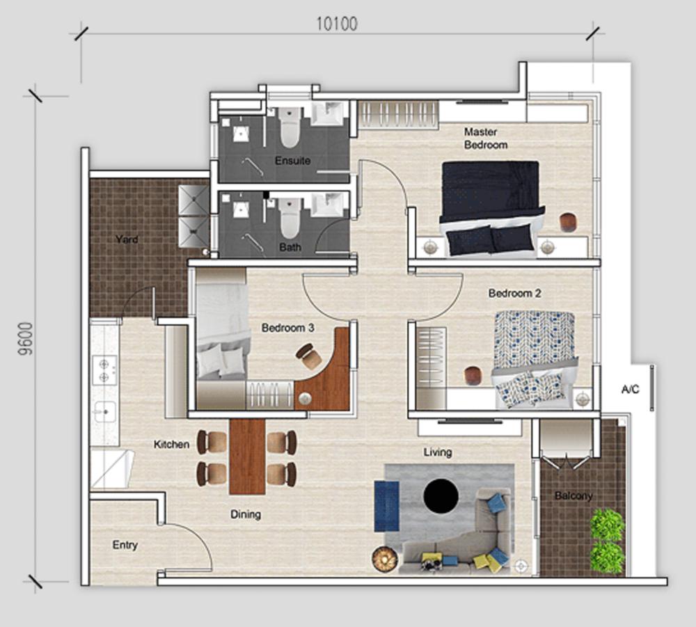 Mutiara Ville Tower J - Type D Floor Plan