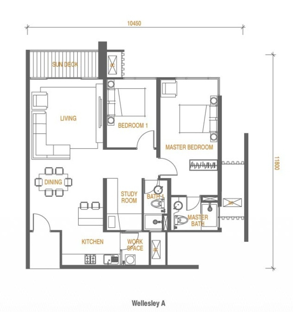 Wellesley Residences Family Deluxe C Floor Plan