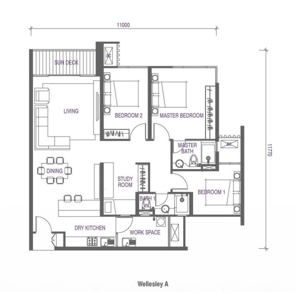 Wellesley Residences Family Deluxe D Floor Plan