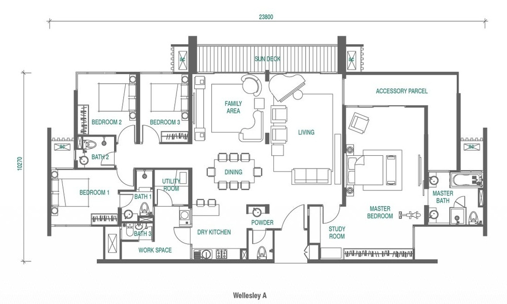 Wellesley Residences Penthouse F Floor Plan