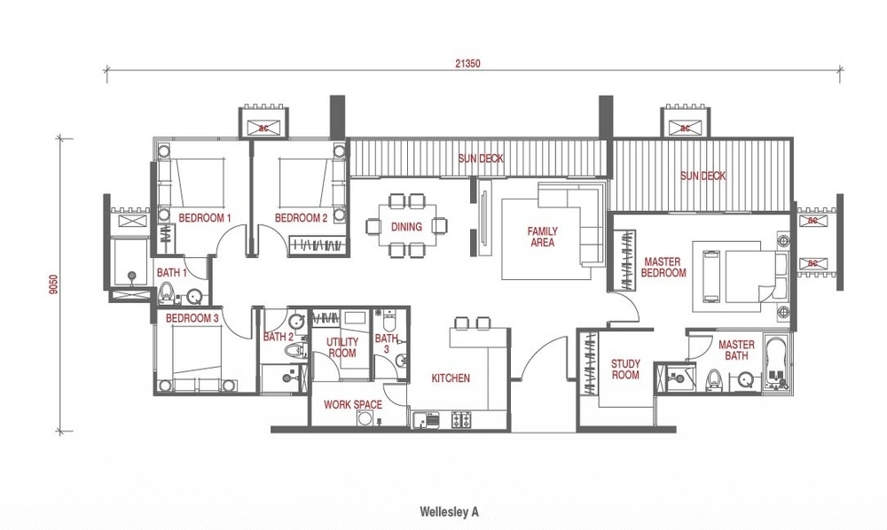 Wellesley Residences Penthouse H Floor Plan