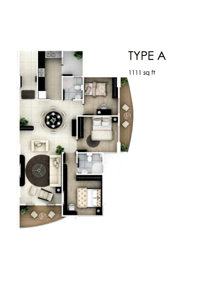 The Oasis Type A Floor Plan