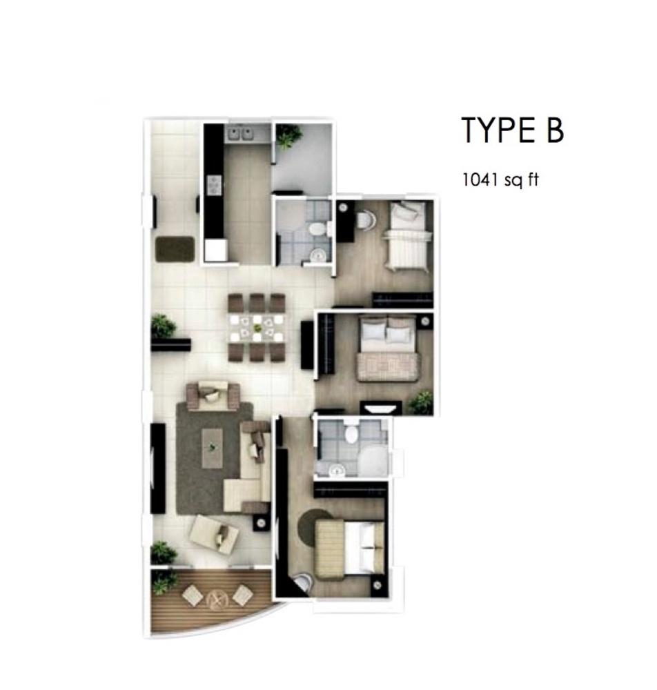 The Oasis Type B Floor Plan