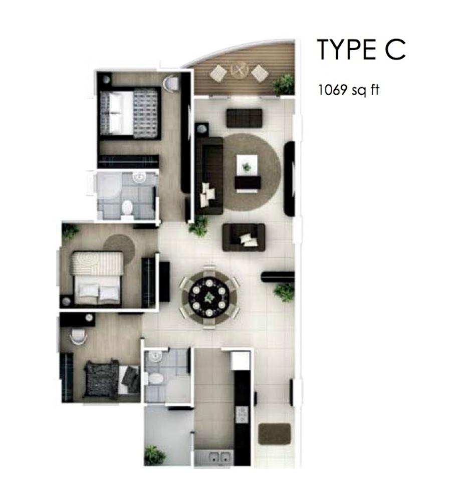 The Oasis Type C Floor Plan