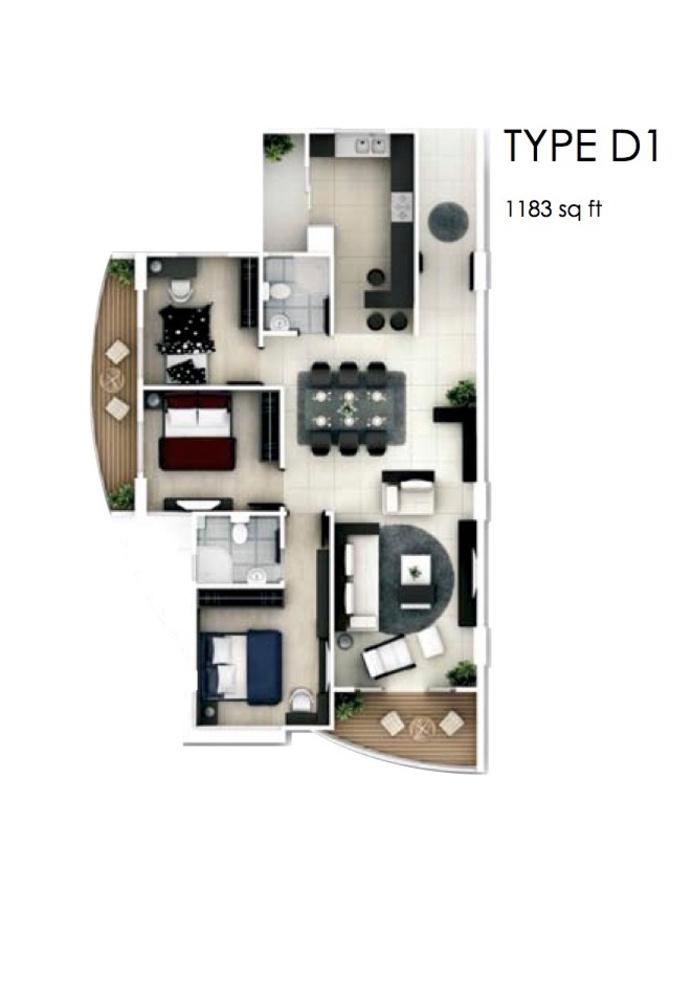 The Oasis Type D1 Floor Plan