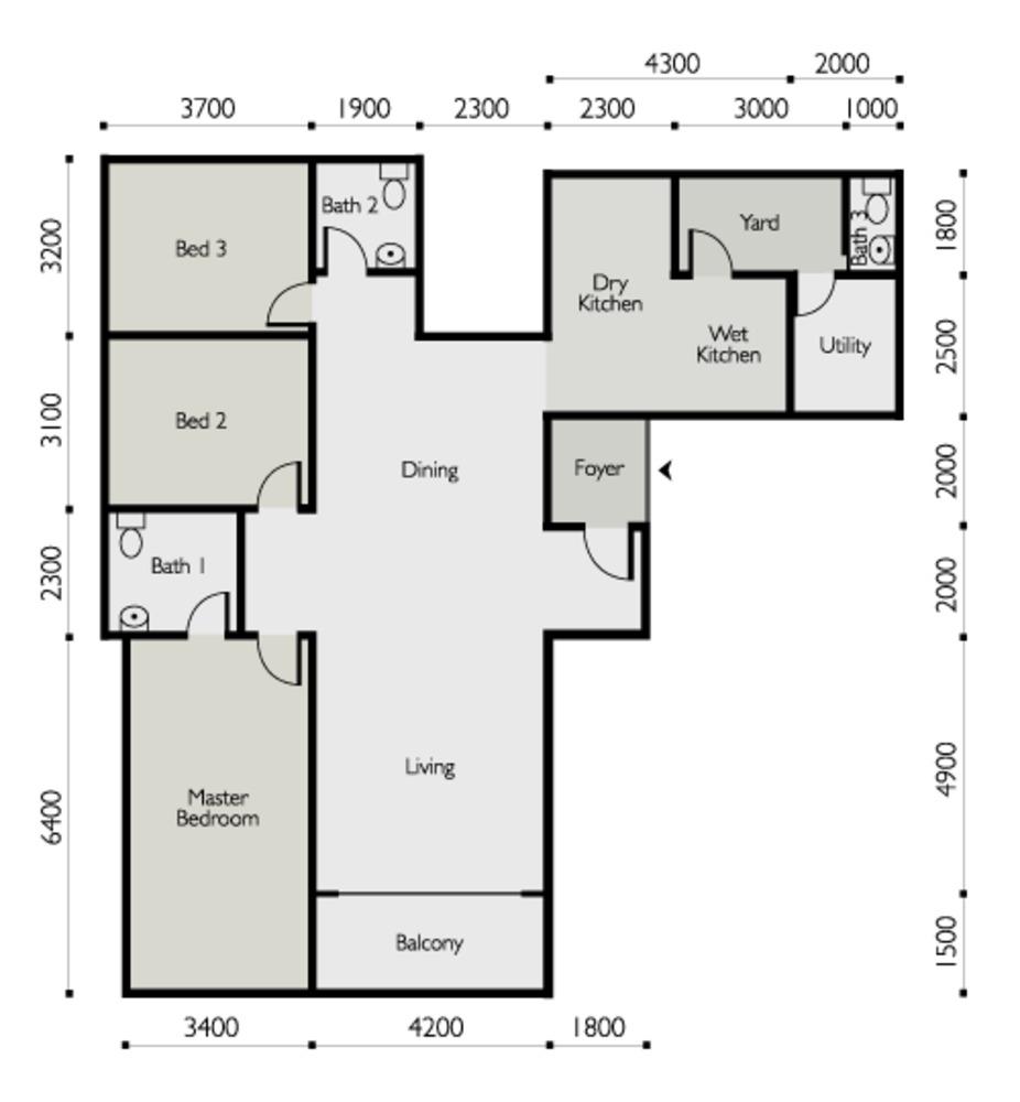 The Light Linear Type A Floor Plan