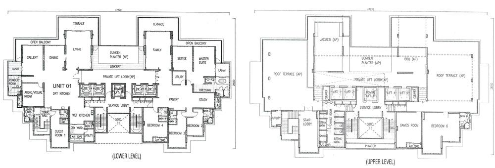 One Tanjong Top Penthouse Unit Floor Plan