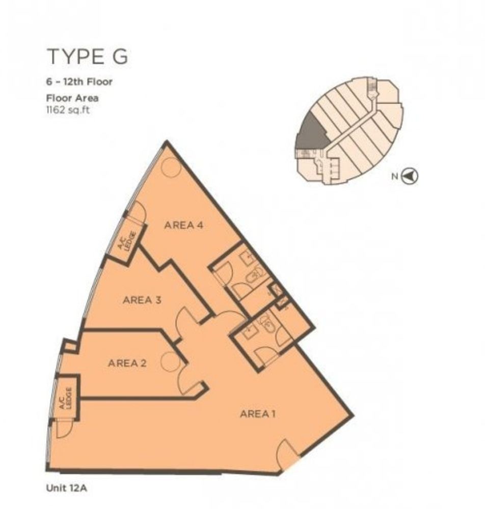 One One Eight Type G (Unit 12A) Floor Plan