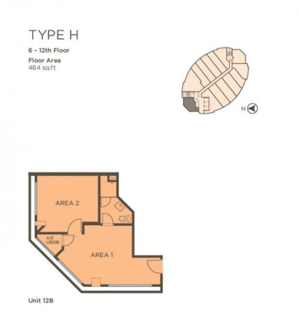 One One Eight Type H (Unit 12B) Floor Plan