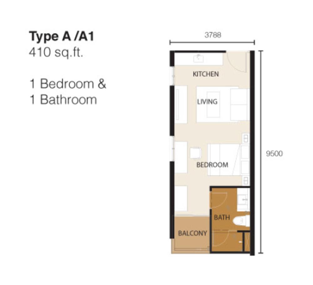 Ion Delemen Block 2 - Type A & A1 Floor Plan