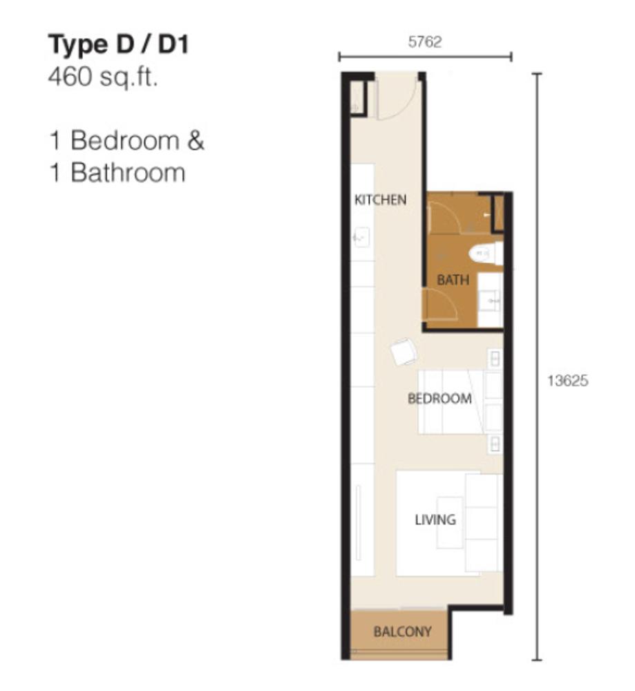 Ion Delemen Block 2 - Type D & D1 Floor Plan