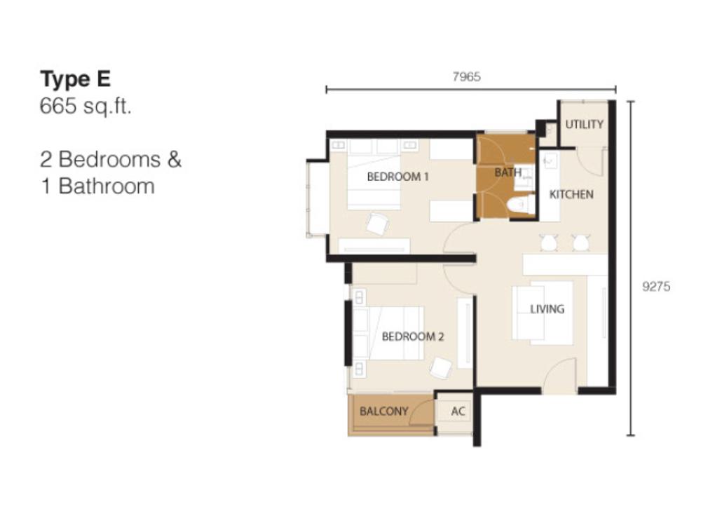 Ion Delemen Block 2 - Type E Floor Plan
