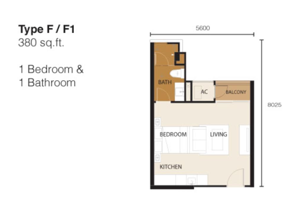 Ion Delemen Block 2 - Type F & F1 Floor Plan
