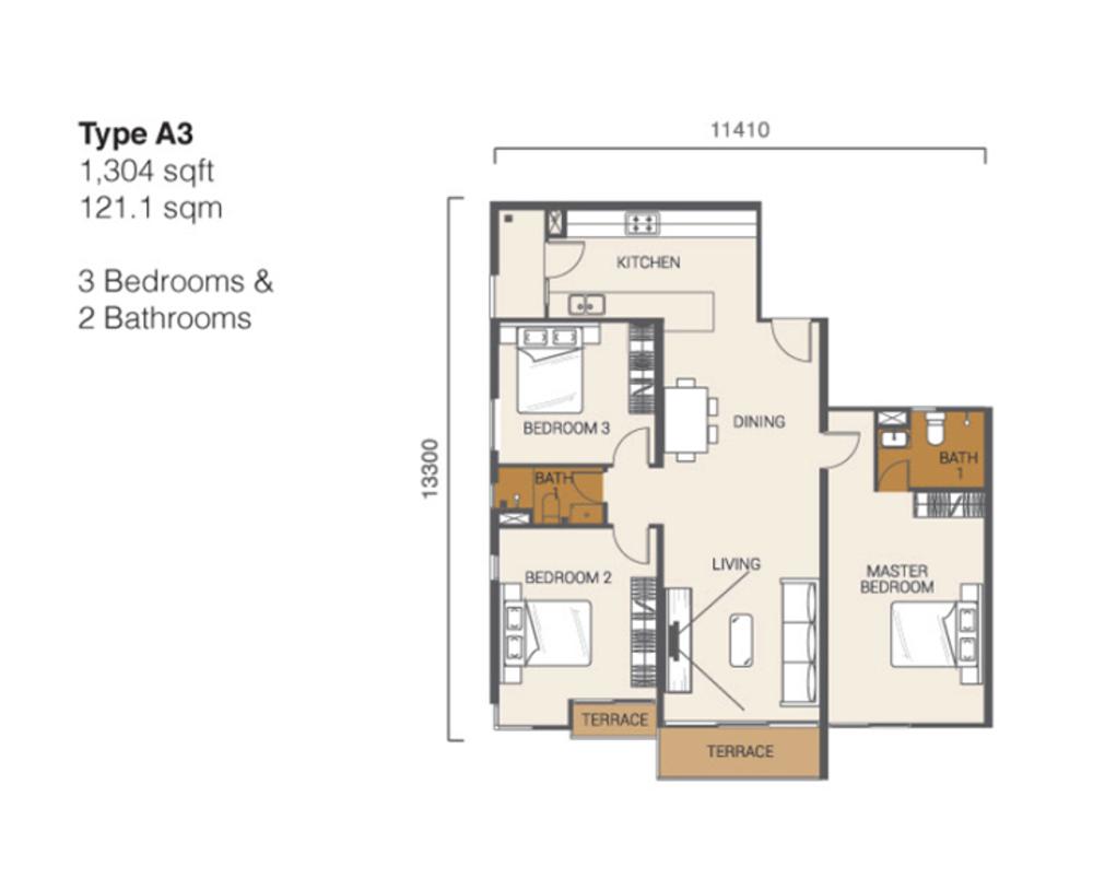Ion Delemen Block 3 - Type A3 Floor Plan