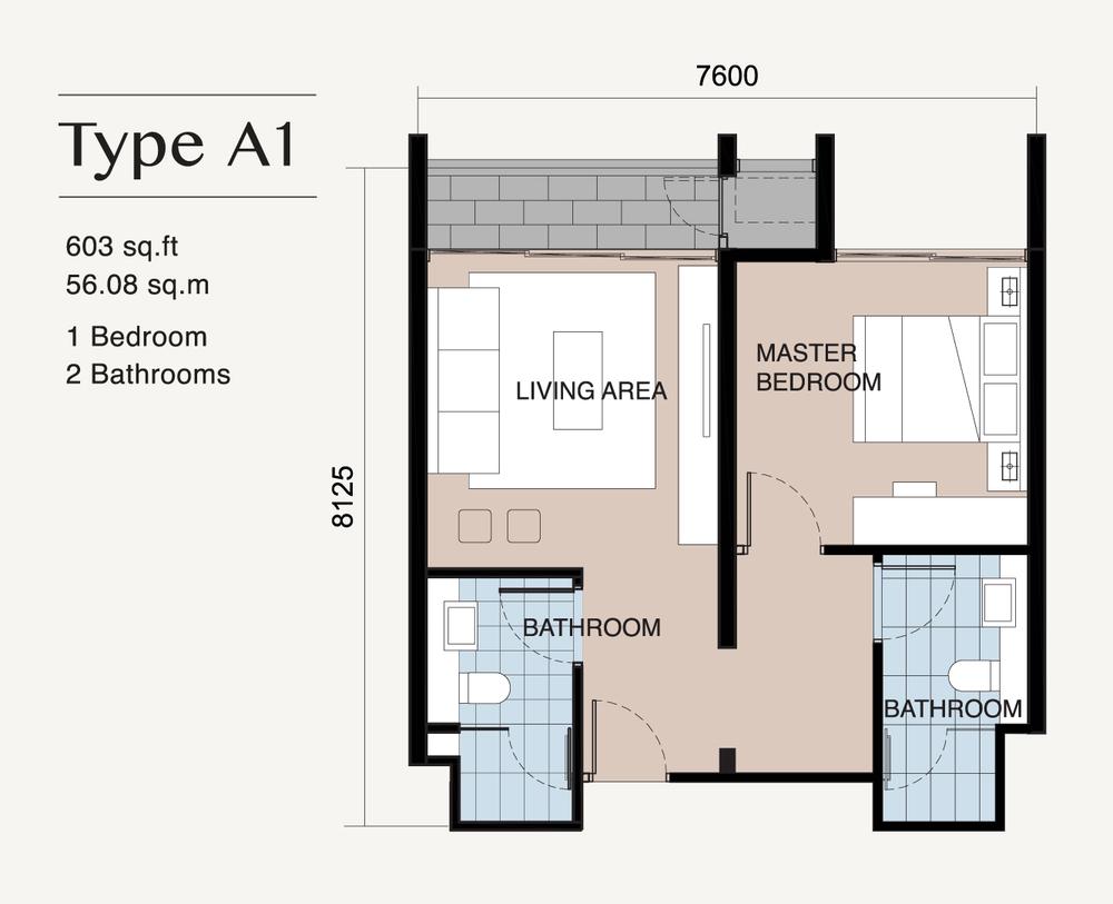 Ion Delemen Block 7 - Type A1 Floor Plan