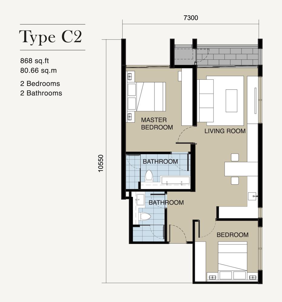 Ion Delemen Block 7 - Type C2 Floor Plan