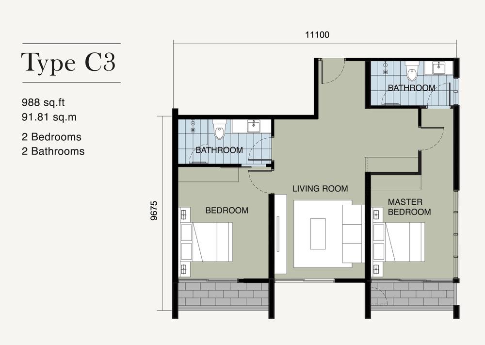 Ion Delemen Block 7 - Type C3 Floor Plan