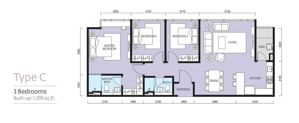 Tropicana Metropark Paloma - Type C Floor Plan