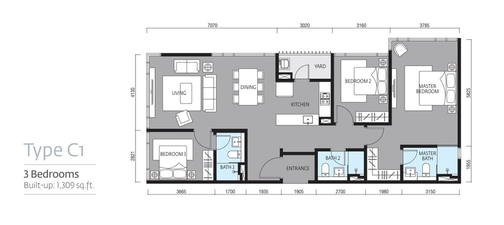 Tropicana Metropark Paloma - Type C1 Floor Plan