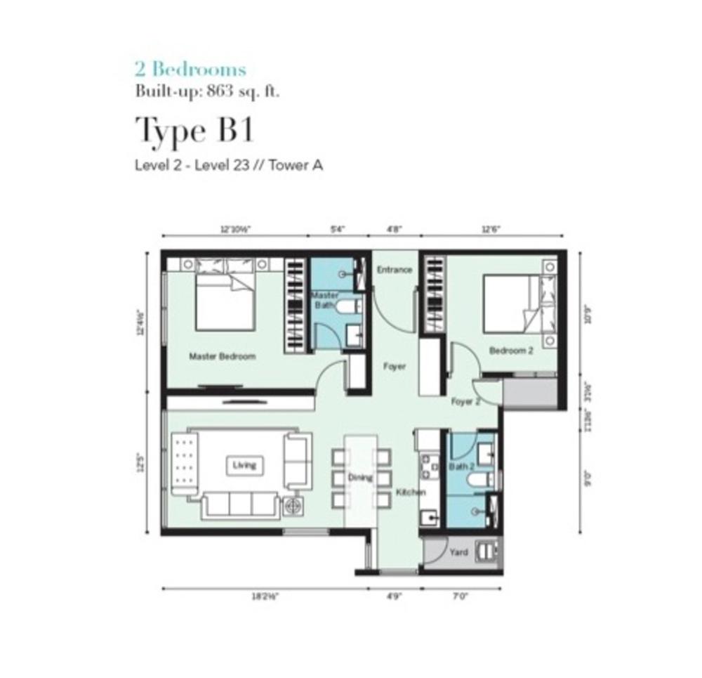 Tropicana Metropark Pandora - Type B1 Floor Plan