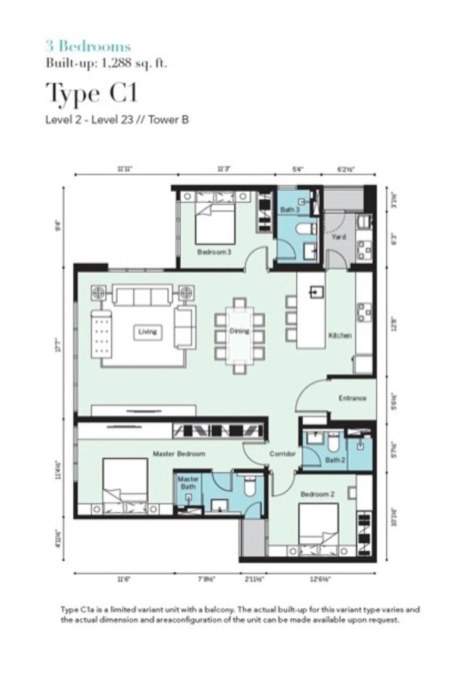 Tropicana Metropark Pandora - Type C1 Floor Plan