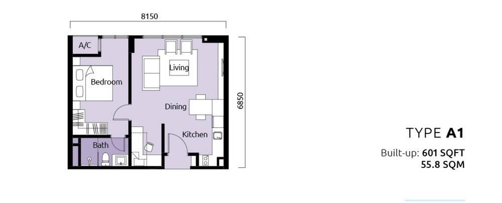 Tropicana Metropark Paisley - Type A1 Floor Plan