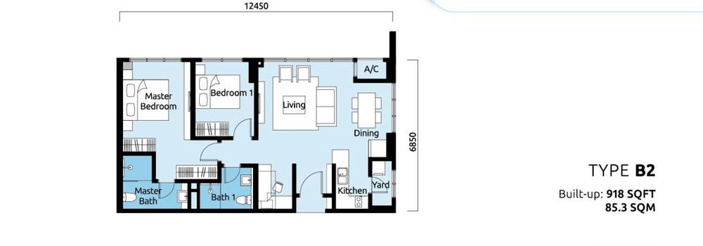 Tropicana Metropark Paisley - Type B2 Floor Plan