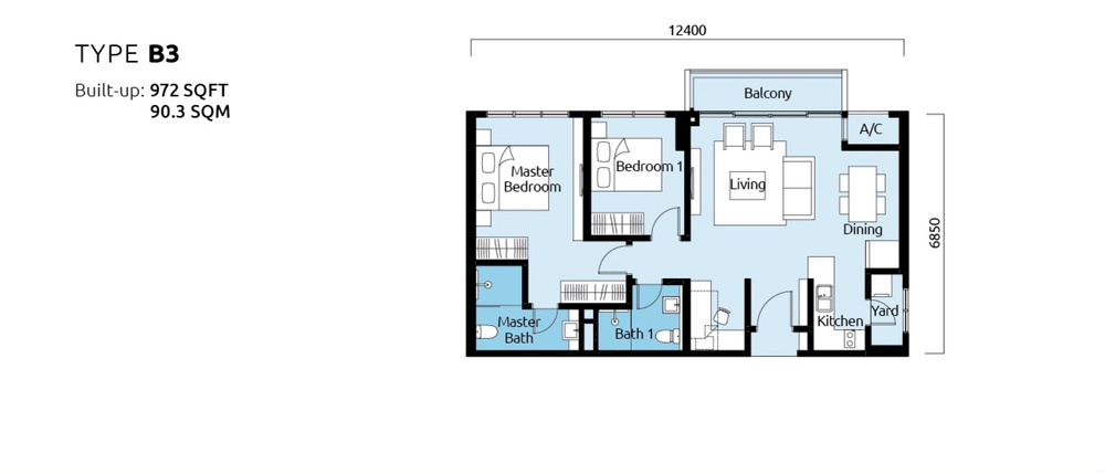 Tropicana Metropark Paisley - Type B3 Floor Plan