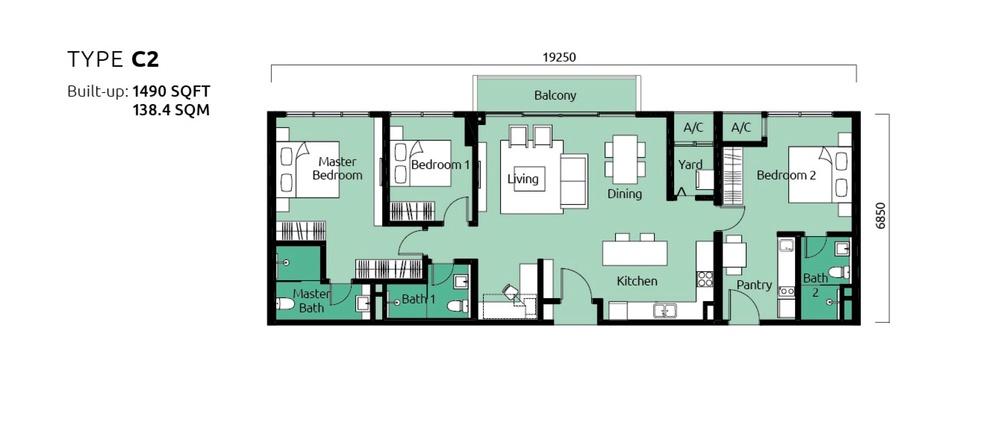 Tropicana Metropark Paisley - Type C2 Floor Plan