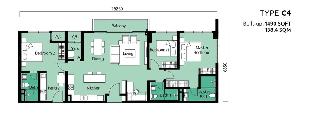 Tropicana Metropark Paisley - Type C4 Floor Plan