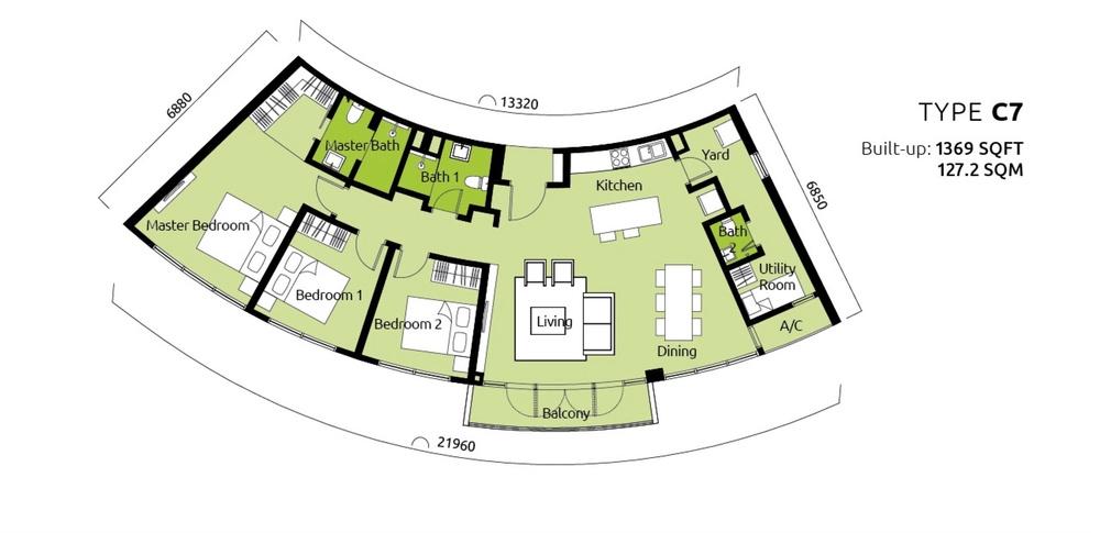 Tropicana Metropark Paisley - Type C7 Floor Plan
