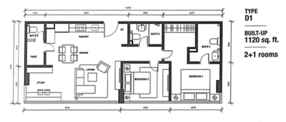 Regalia @ Jalan Sultan Ismail Type D (D1) Floor Plan